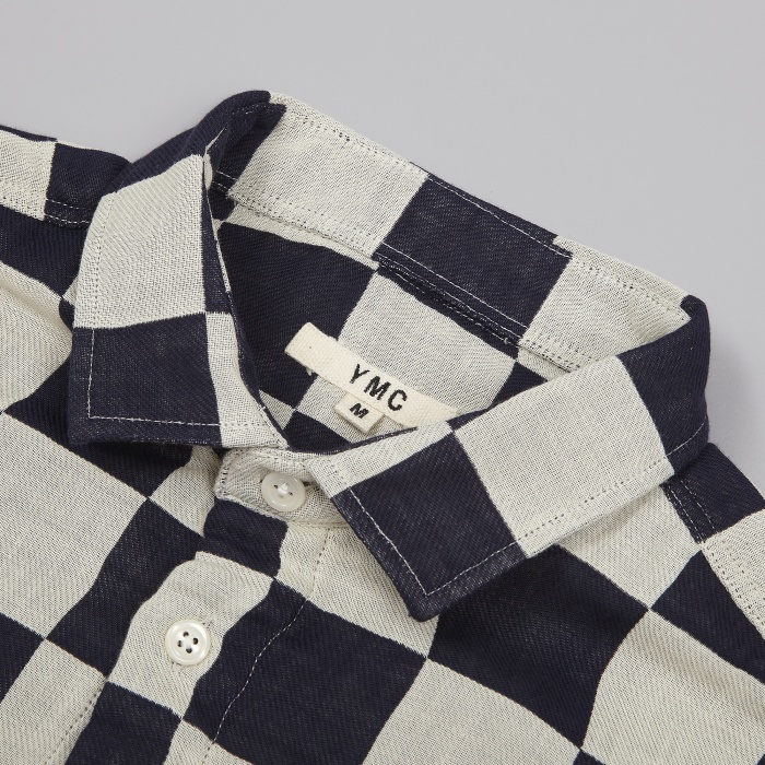 YMC Checkerboard Slim Fit Shirt - Navy/Cream (Image 1)