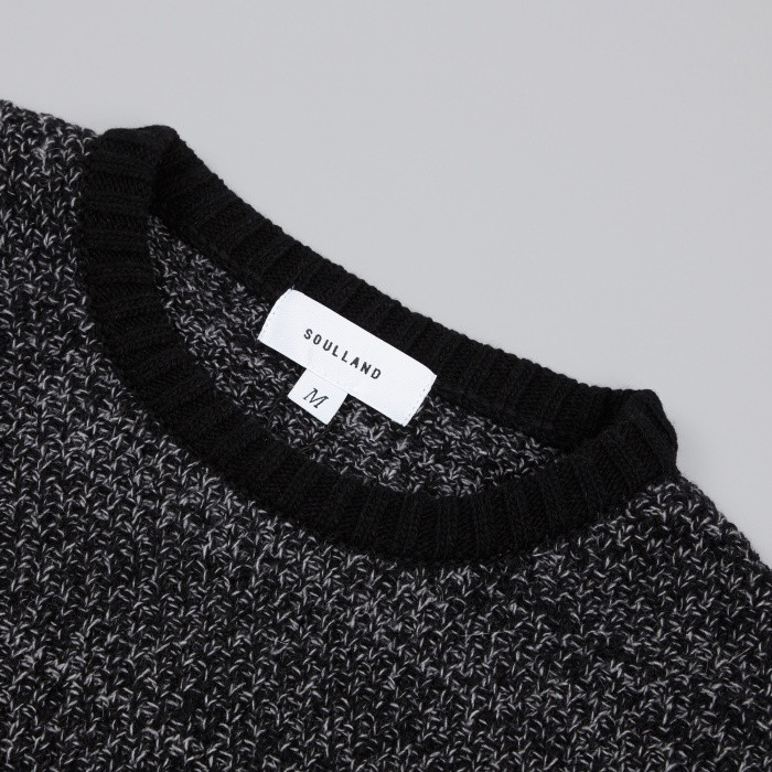 Soulland Ricketts Honeycomb Sweater - Black/Grey (Image 1)