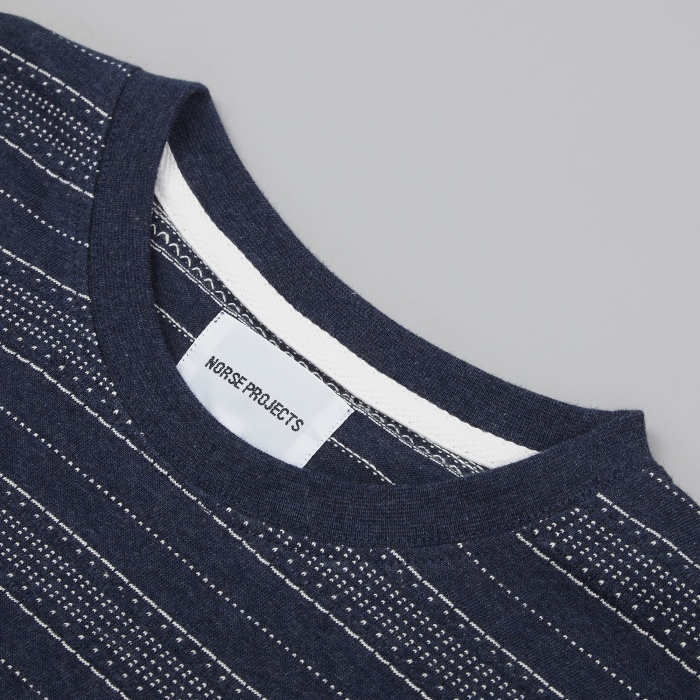 Norse Projects Niels Textured Stripe T-Shirt - Dark Navy (Image 1)