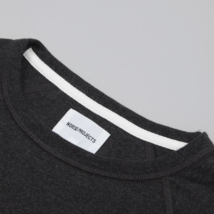 Norse Projects Aske Perforated LS T-Shirt - Charcoal Melange (Image 1)