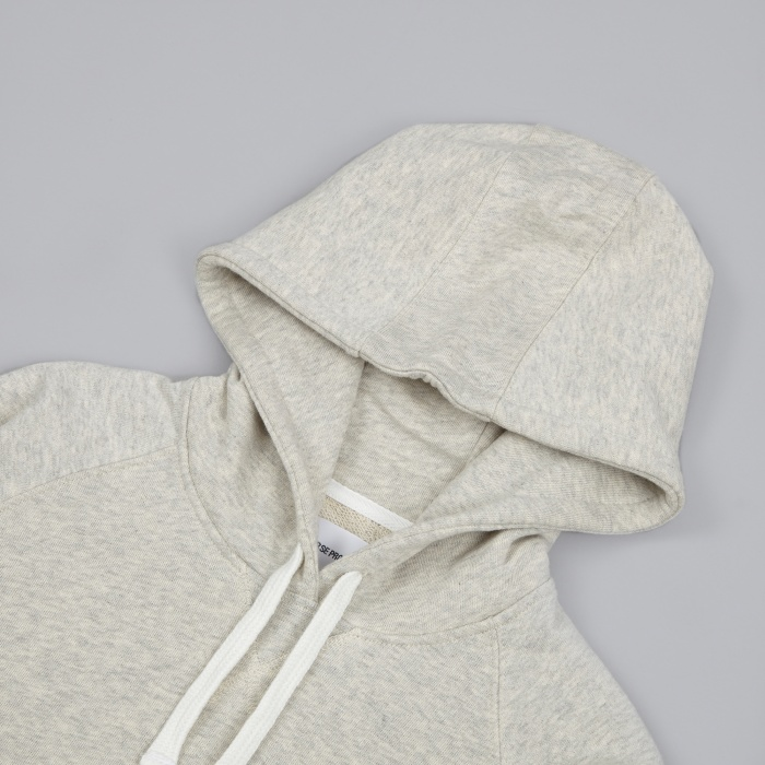 Norse Projects Ketel Hood Sweatshirt - Light Grey Melange (Image 1)