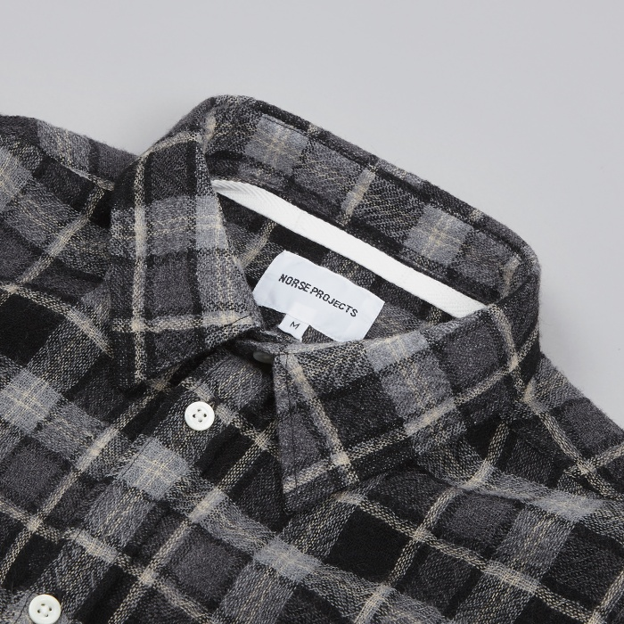 Norse Projects Anton Loose Weave Gauze Shirt - Charcoal (Image 1)