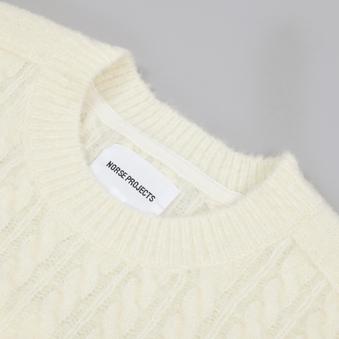 Norse Projects Arild Cable Knit - Birch White (Image 1)