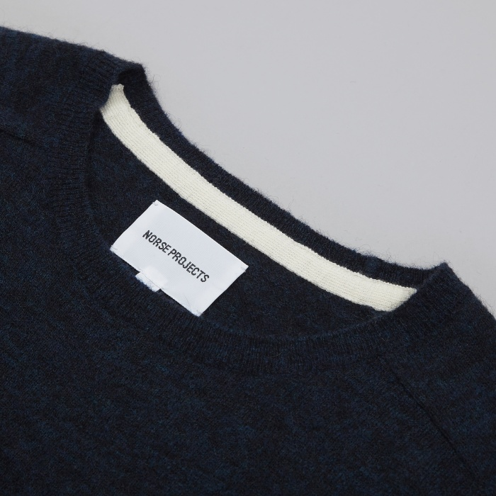 Norse Projects Karl Melange Alpaca Knit - Navy (Image 1)