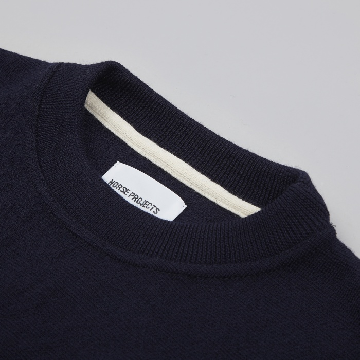 Norse Projects Verner Pure Wool Knit - Navy (Image 1)