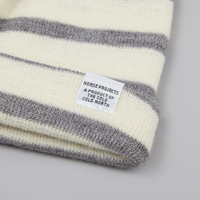Norse Projects Classic Normandy Beanie - Light Grey Melange (Image 1)