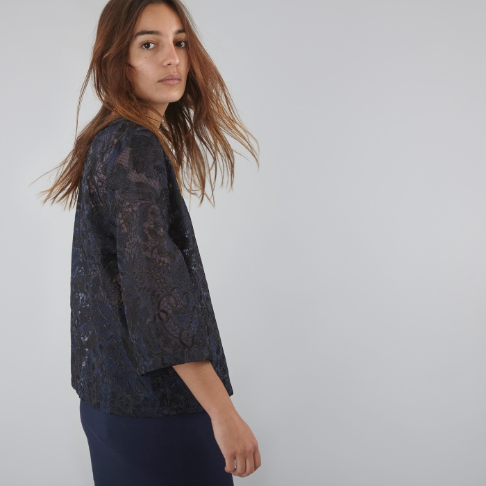Ganni Lace Blouse - Dress Blue (Image 1)