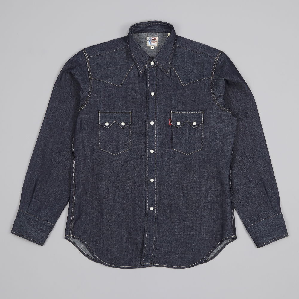 Levi 39 s vintage clothing 1955 sawtooth denim shirt rigid for Levis vintage denim shirt 1950 sawtooth slim fit