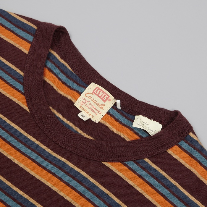 Levi's Vintage Clothing 1960's Striped Tee - Burgandy (Image 1)