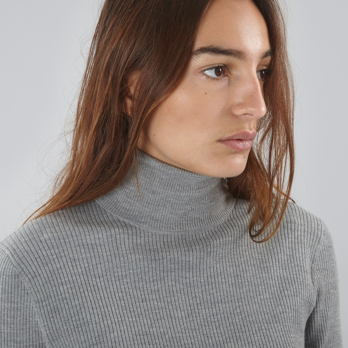 Norse Projects Saga Rib Roll Neck - Light Grey Melange (Image 1)