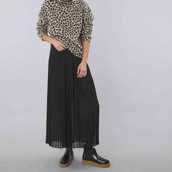 DKNY Runway Long Pleated Wrap Skirt - Black (Image 1)
