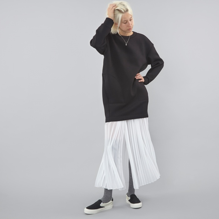 DKNY Runway Long Pleated Wrap Skirt- White (Image 1)