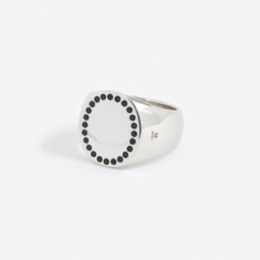 Tom Wood Circle Ring - Silver/Black Spinel