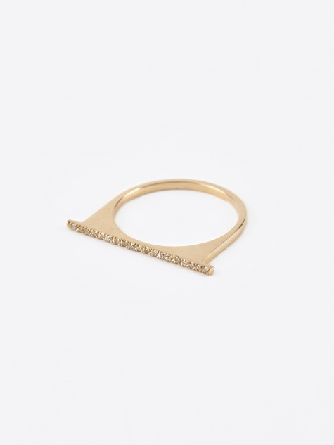 Pave Separate Bar Ring - 14K Gold
