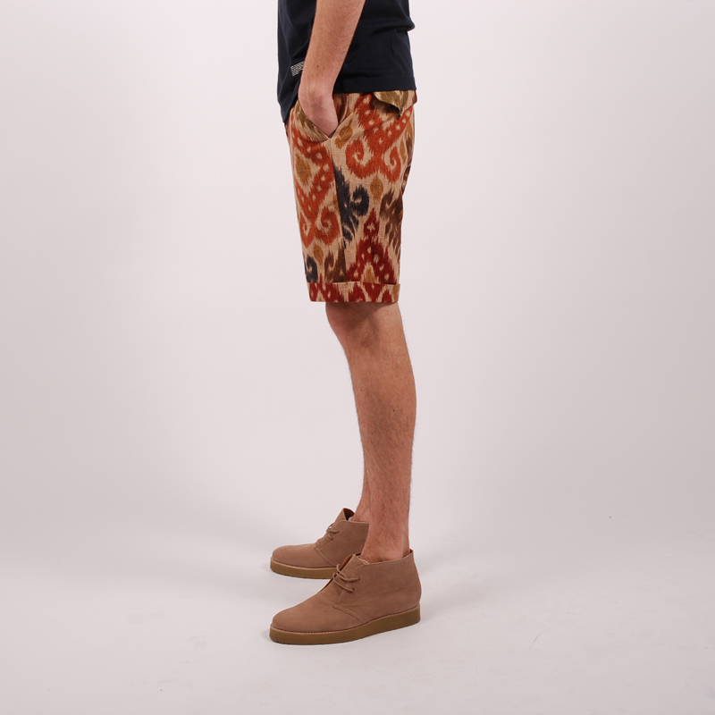 Monitaly Flat Front Shorts - Ikat Brown