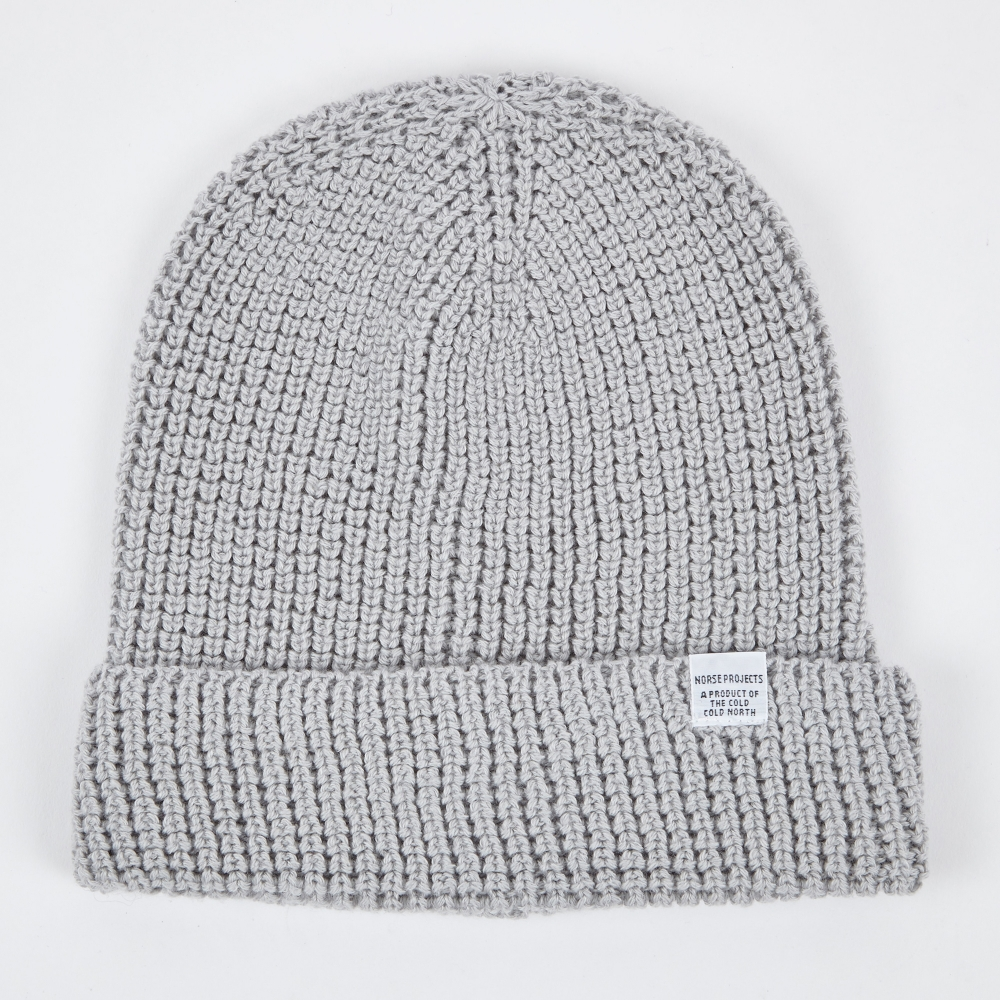 Norse Projects Norse Waffle Beanie - Light Grey Melange (Image 1) d3a98f8c855
