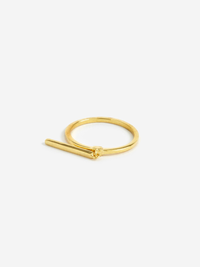 Maria Black Creed Long Bar Ring - 14K Gold Plated (Image 1)