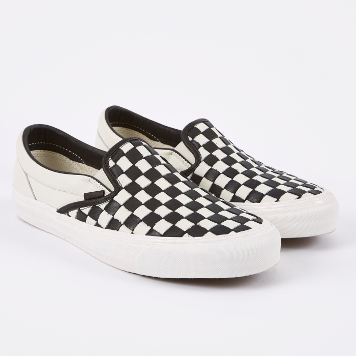 Vans Black & Off-White OG Checkerboard Classic Slip-On Sneakers 56n0zk