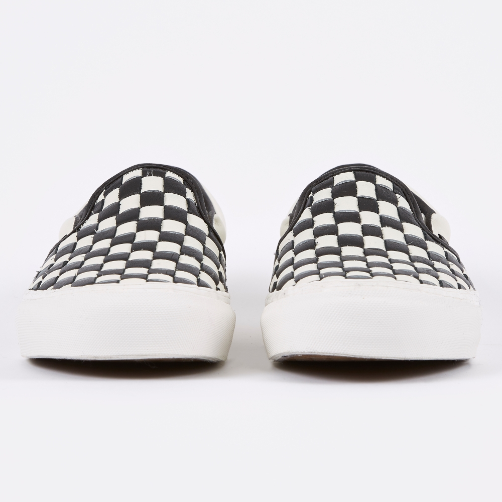 vans checkerboard slip on leather