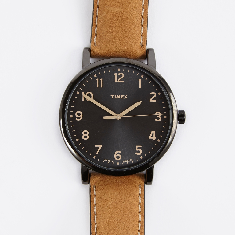 Timex original classic round watch black face tan strap for Black tan watch