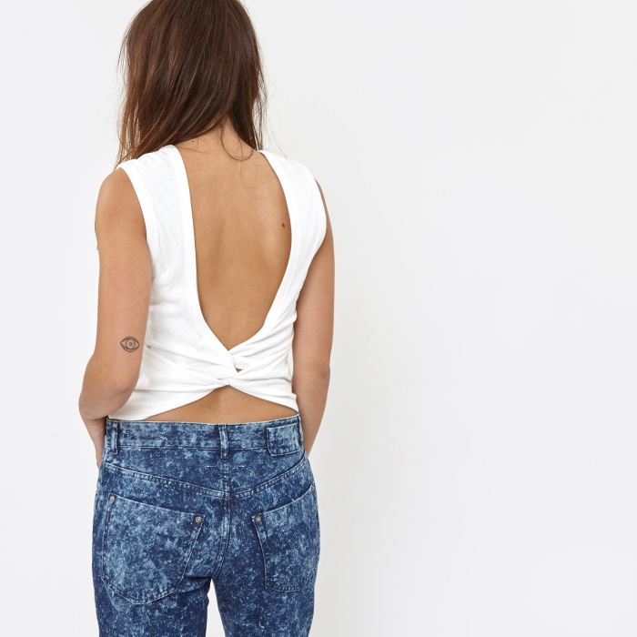 Alexander Wang T By Alexander Wang Cotton Jersey Open Back Twist Tank Top - Whi (Image 1)