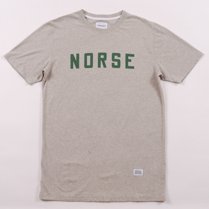 Norse Projects Norse Project Logo Tee - Grey Melange/ Green (Image 1)