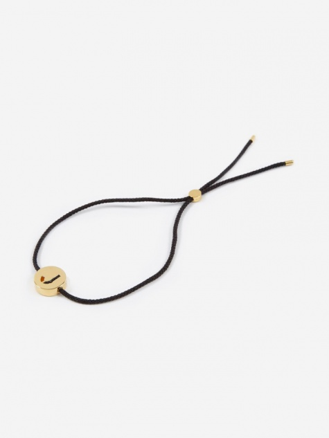 Black Cord J Bracelet - 18K Gold Plated