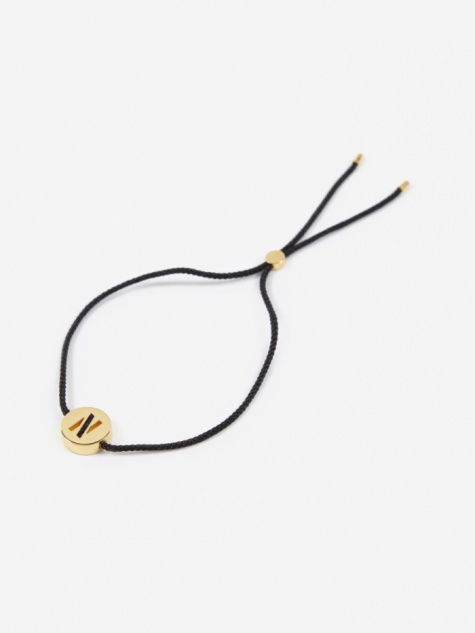 Black Cord N Bracelet - 18K Gold Plated