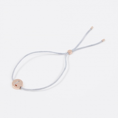 Grey Cord L Bracelet - Rose Gold