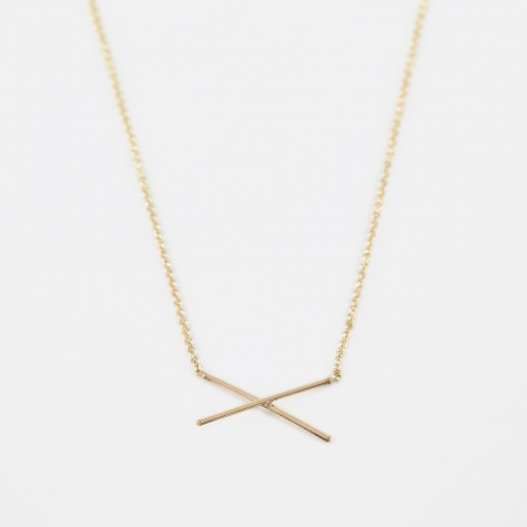 X Necklace - 14K Yellow Gold