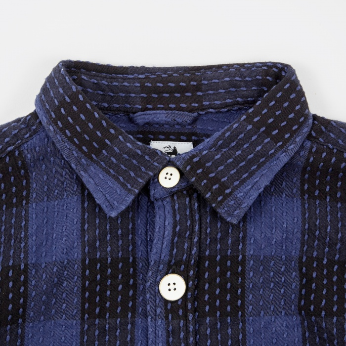 Sasquatchfabrix. Sashiko Block Check Shirt - Navy/Black (Image 1)