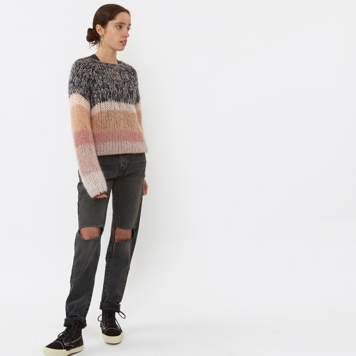 Maiami Mohair Basic Sweater - Softpowder Black/Creme (Image 1)