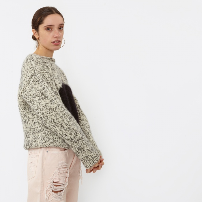 Maiami Sweater With Circle - Creme/Black Melange (Image 1)