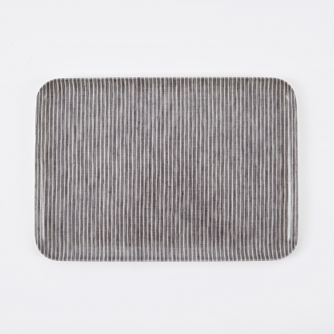 Linen Tray Grey White Stripe - Medium