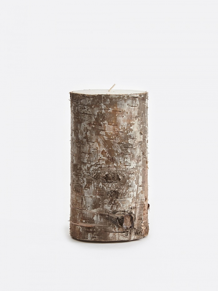 Broste Candle With Birch Bark 7.5x15cm (Image 1)