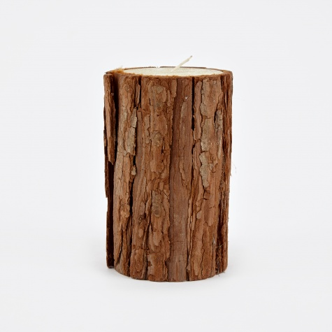 Candle With Bark 7.5x15cm