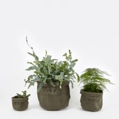 Puebco Canvas Pot Cover Set Of Three - Olive