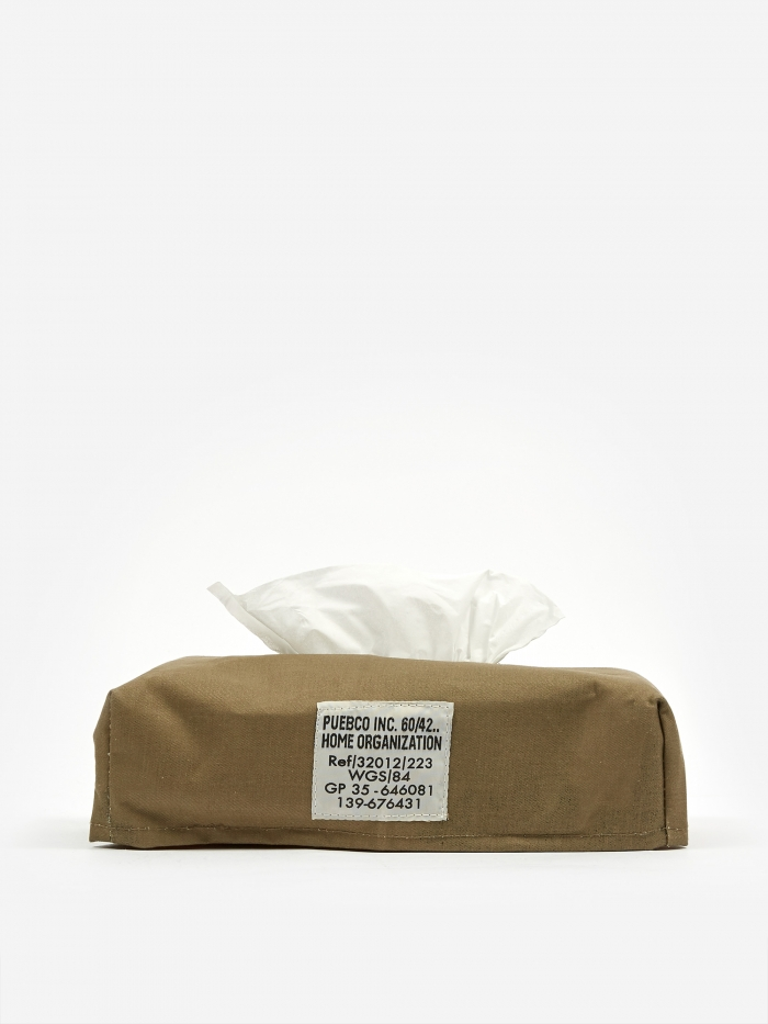 Puebco Laminated Fabric Tissue Box Cover - Olive (Image 1)