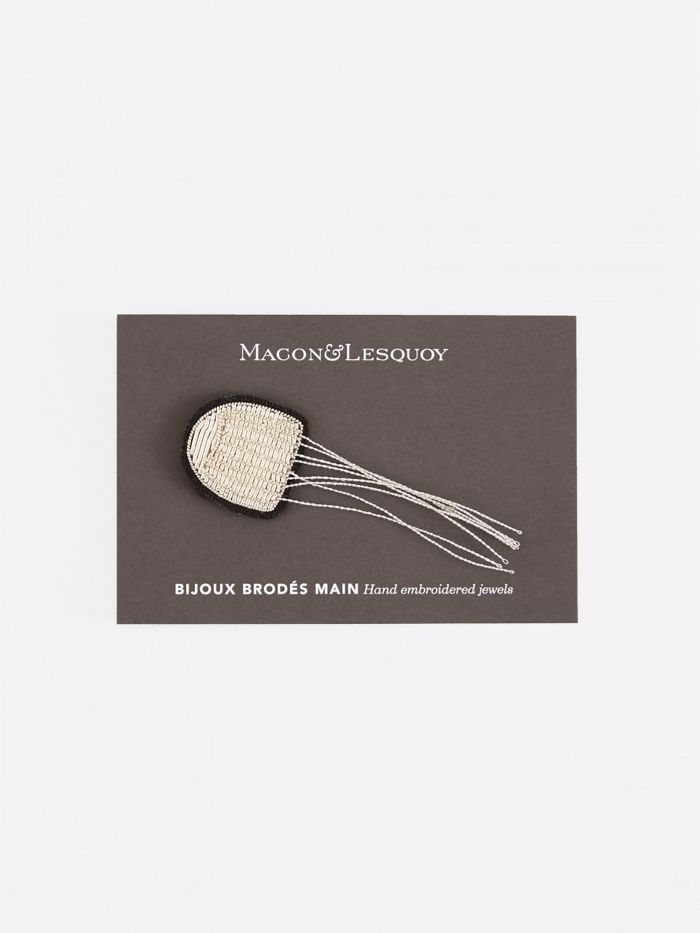 Macon & Lesquoy Small Jellyfish Embroidered Pin (Image 1)