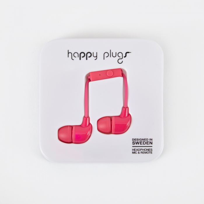 Happy Plugs In Ear Earphones With Mic and Remote - Cerise (Image 1)
