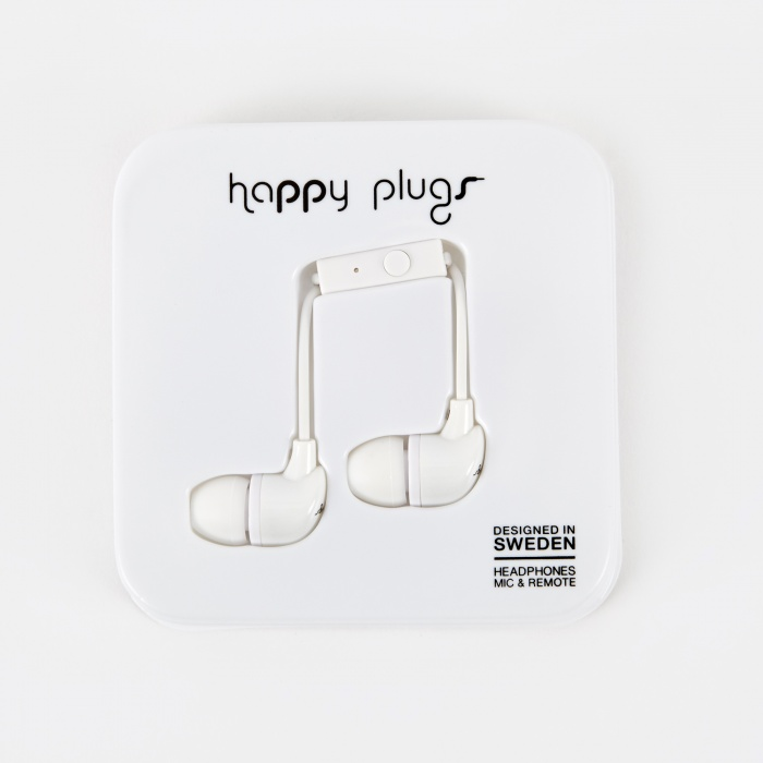 Happy Plugs In Ear Earphones With Mic and Remote - White (Image 1)