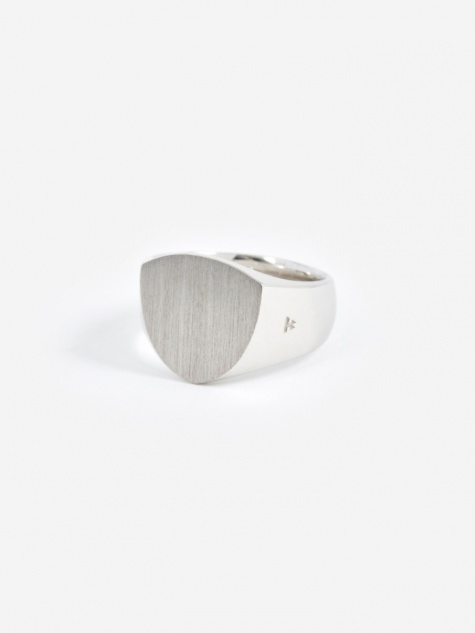 Shield Satin Ring - Silver