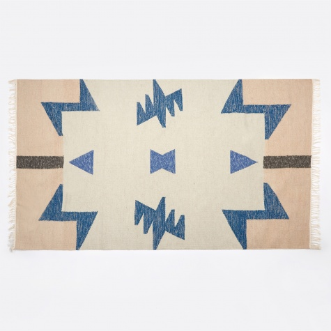 Kelim Rug - Blue Triangles - Small