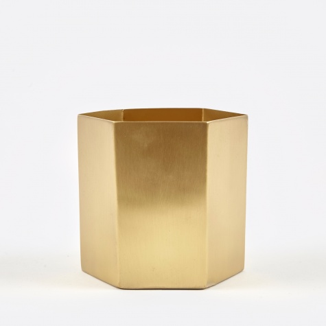 Small Hexagon Pot - Brass