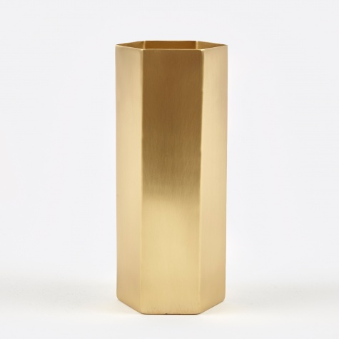 Hexagon Vase - Brass