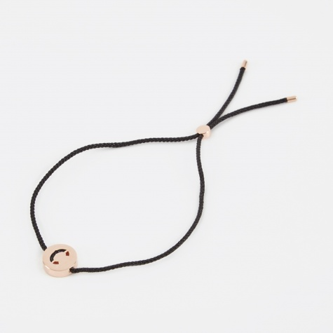 Black Cord C Bracelet - Rose Gold