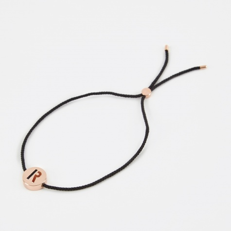 Black Cord R Bracelet - 18K Rose Gold Plated