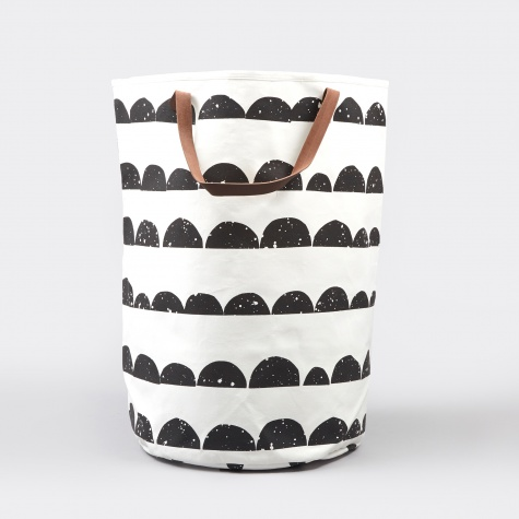 Half Moon Laundry Basket - Black/White