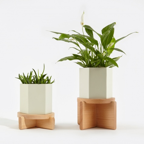 Wooden Plant Pedestals - Set Of 2