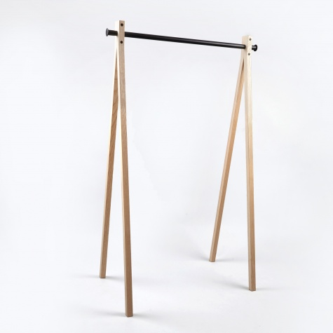 Dress-Up Garment Rack Ash Trestle/Black Bar 90cm